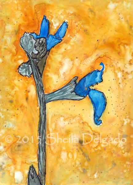 Blue Sage. Watercolor and pen on yupo, 4.5 x 6. © 2015 Sheila Delgado