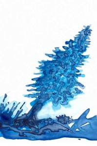 Leaning Tree. 3 x 4 watercolor on Yupo. 2015 Sheila Delgado