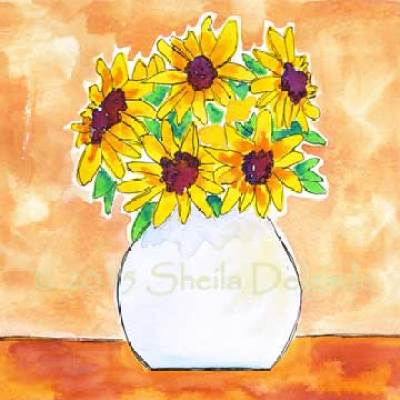 Sunny warmth. 8 x 8 watercolor on Arches 140 lb. cold pressed paper. © 2015 Sheila Delgado