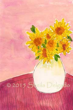 Sunflowers in a white vase. 6 x 9 watercolor on 140 lb. Arches cold pressed paper. © Sheila Delgado