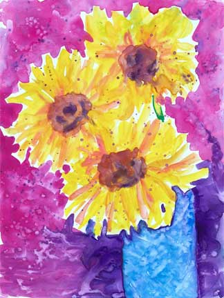 Sunflowers In A Blue Vase. 4.5 x 6 watercolor on Yupo. 2015 Sheila Delgado