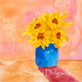 Day 18. 8 x 8 in. watercolor on gesso board. © 2016 Sheila Delgado