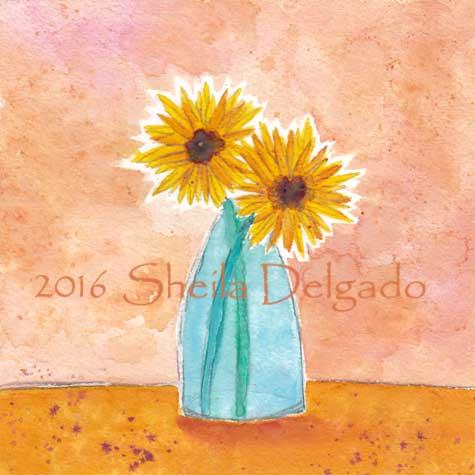 Day 30. 5 x 5 in. watercolor on Arches 140 lb. cold pressed paper. © 2016 Sheila Delgado