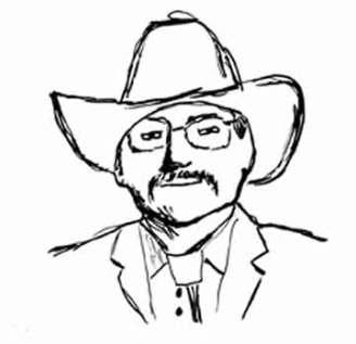 Cowboy, 3 x 3 pen on Mineral paper, © 2016 Sheila Delgado