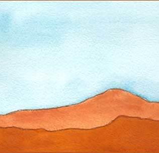 Desert Heat. 4 x 8 watercolor on Arches 140 lb. cold pressed paper. © 2016 Sheila Delgado