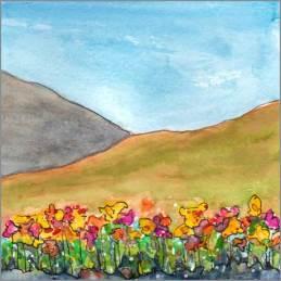 Golden Hill, whole. 6 x 6 watercolor on Arches 140 lb. cold pressed paper. © 2016 Sheila Delgado