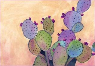 Purple Cactus Plant. 7 x 10 watercolor on Arches 140 lb. cold pressed paper. © 2016 Sheila Delgado