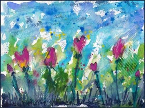 Here comes the rain again. 6 x 8 watercolor and gouache on Arches 140 lb. cold pressed paper. © 2016 Sheila Delgado