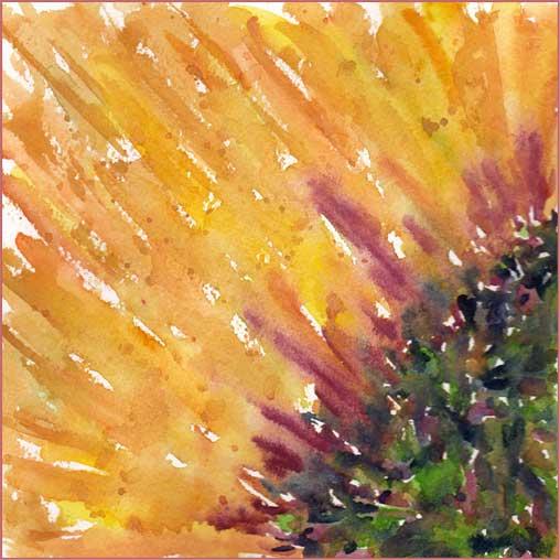 Sunflower. 6 x 6 watercolor on Arches 140 lb. cold pressed paper. © 2016 Sheila Delgado