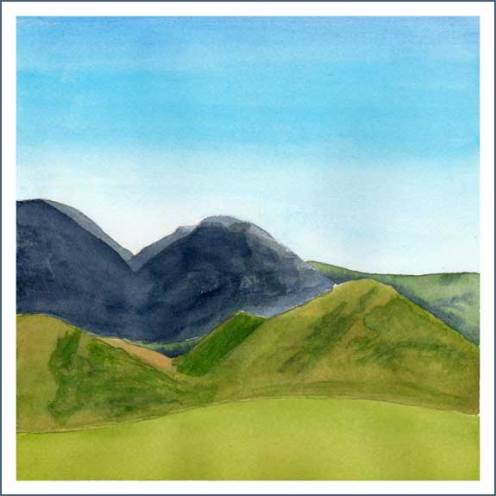 Hills. 8 x 8 watercolor on Arches 140 lb. cold pressed paper. © 2016 Sheila Delgado