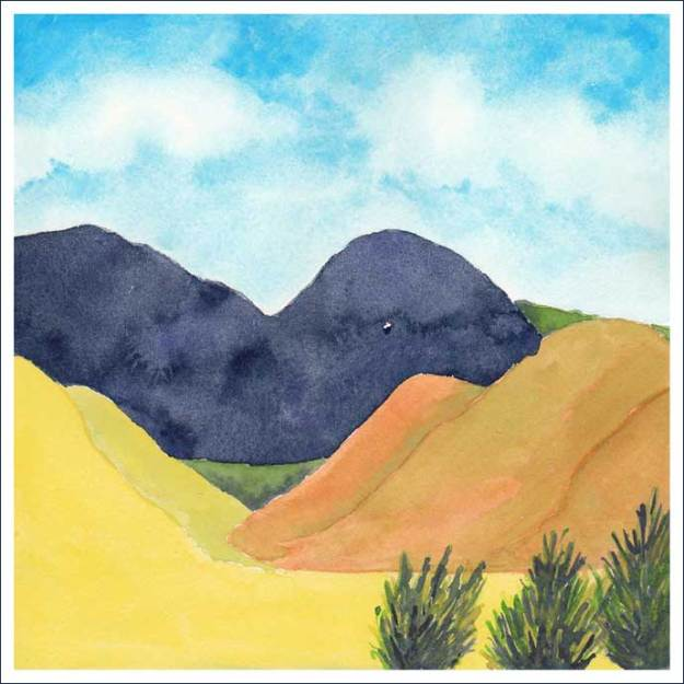 Hills. 8 x 8 watercolor and gouache on Arches 140 lb. cold pressed paper. © 2016 Sheila Delgado