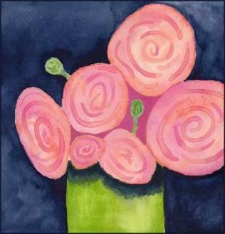 Pink Ranunculus. 8 x 8 watercolor on 140 lb. Arches cold pressed paper. © 2016 Sheila Delgado