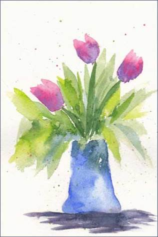 Pink Tulips. 4 x 6 in. watercolor on Arches 140 lb. cold pressed paper. © 2016 Sheila Delgado