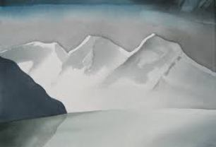 Spring Snow, Harrison Lake, B.C. Watercolour, Toni Onley