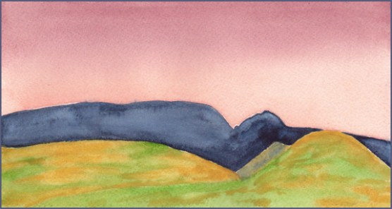 Sunset Sky. 4.25 x 8 in. watercolor on Arches 140 lb. cold pressed paper. © 2017 Sheila Delgado