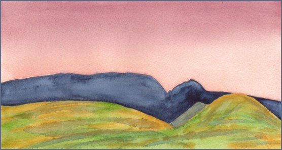 Sunset Sky, touch-up. 4.25 x 8 in. watercolor on Arches 140 lb. cold pressed paper. © 2017 Sheila Delgado