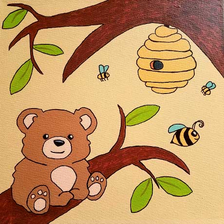 Baby Bear. 12 x 12 Acrylic on gallery wrapped canvas. 2017 Sheila Delgado