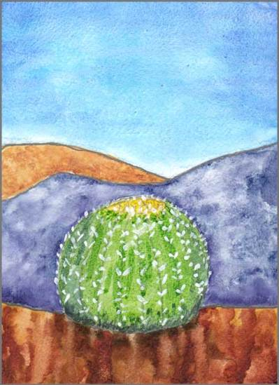 Barrel Cactus. 4 x 6 watercolor on gessoed paper. © 2017 Sheila Delgado