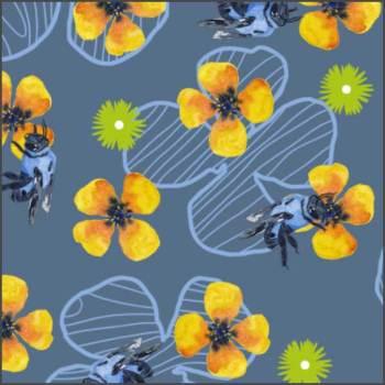 Bee Bloomers. Mixed media surface design. © 2017 Sheila Delgado