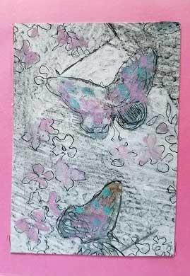 Butterflies, original artwork. 4 x6 approx., pencil, pen and gouache. Carol Edan. 2017