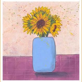 Sunny Surprise, Day 12. 8 x 8 Acrylic on paper. © 2017 Sheila Delgado