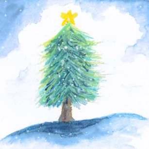 Tiny Tree, 3 x 3 watercolor on paper. 2017 Sheila Delgado