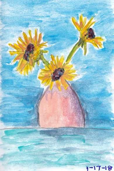 Sketchy Sunflowers. 4 x 6 mixed media on paper. © 2018 Sheila Delgado