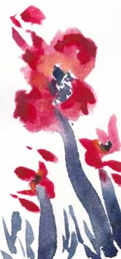 Red. 3.5 x 8 watercolor on Arches 140 lb. cold pressed paper. © 2018 Sheila Delgado.