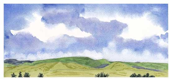 Mingus Day #2. 5.5 x 12 in. watercolor on Arches 140 lb. cold pressed paper. © 2018 Sheila Delgado.