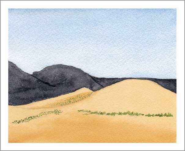 Mingus Day #24. 4.5 x 5.25 in. Watercolor on Arches 140 lb. cold pressed paper. © 2018 Sheila Delgado.