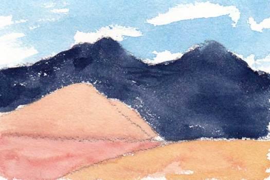 Mingus Day #30. 4 x 6 in. Watercolor on Arches 140 lb. cold pressed paper. © 2018 Sheila Delgado.