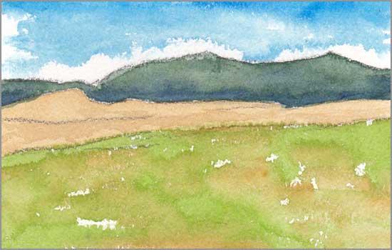 Mingus Day #35. 3.5 x 5.75 in. Watercolor on Arches 140 lb. cold pressed paper. © 2018 Sheila Delgado.