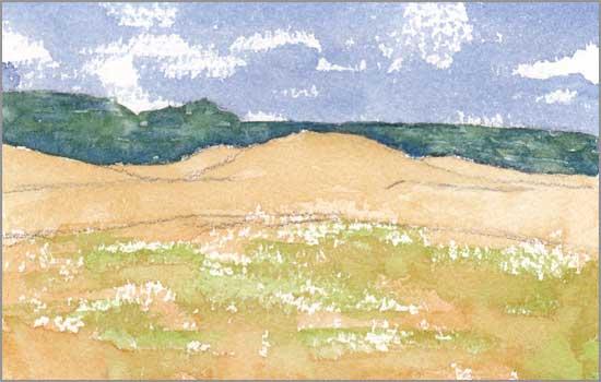 Mingus Day #36. 3.5 x 5.75 in. Watercolor on Arches 140 lb. cold pressed paper. © 2018 Sheila Delgado.