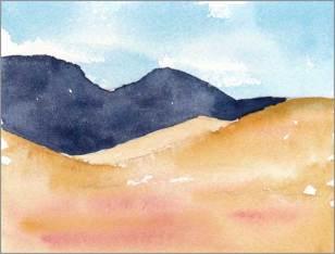 Mingus Day #43. 4 x 5.25 in. watercolor on Arches 140 lb. cold pressed paper. © 2018 Sheila Delgado.