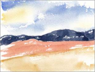 Mingus Day #44. 4 x 5.25 in. watercolor on Arches 140 lb. cold pressed paper. © 2018 Sheila Delgado.