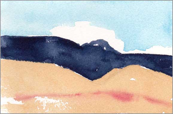 Mingus Day #47. 4 x 5.25 in. watercolor on Arches 140 lb. cold pressed paper. © 2018 Sheila Delgado.
