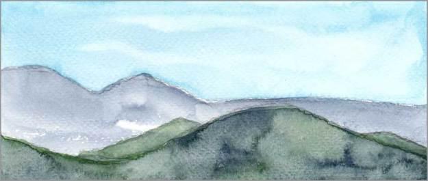 Mingus Day #57. 4 x 10 in. watercolor on Fabriano 140 lb. cold pressed paper. © 2018 Sheila Delgado.