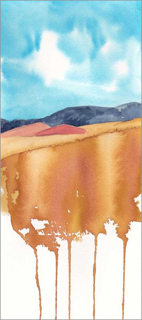 Mingus Day #64. 5 x 11.5 in. watercolor on Arches 140 lb. cold pressed paper. © 2018 Sheila Delgado.