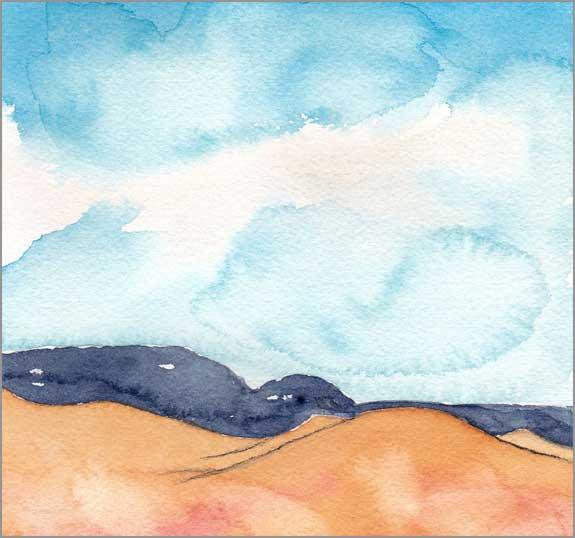 Mingus Day #68. 5.75 x 5.75 in. watercolor on Arches 140 lb. cold pressed paper. © 2018 Sheila Delgado.