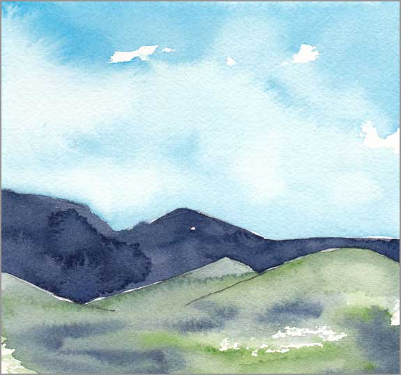 Mingus Day #70. 5.75 x 5.75 in. watercolor on Arches 140 lb. cold pressed paper. © 2018 Sheila Delgado.