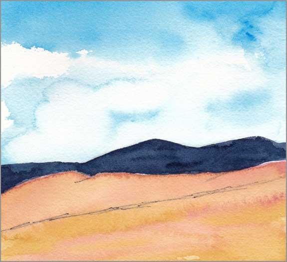 Mingus Day #71. 5.75 x 5.75 in. watercolor on Arches 140 lb. cold pressed paper. © 2018 Sheila Delgado.