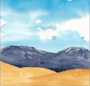 Mingus Day #80. 5.75 x 5.5 in. watercolor on Arches 140 lb. cold pressed paper. © 2018 Sheila Delgado.
