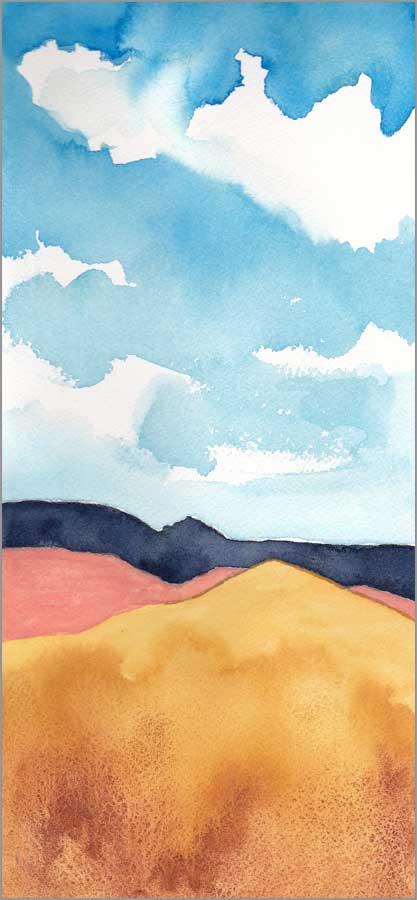 Mingus #86. 5.5 x 12 in. watercolor on Arches 140 lb. cold pressed paper. © 2018 Sheila Delgado.