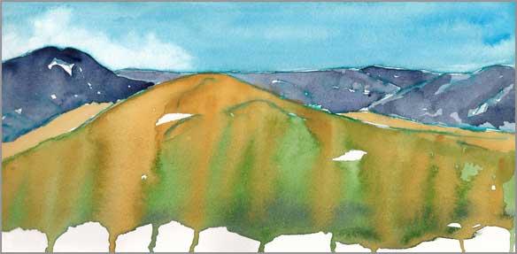 Mingus #99. 11.5 x 5.5 in. watercolor on Arches 140 lb. cold pressed paper. © 2018 Sheila Delgado.
