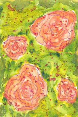 Ranunculus. 4 x 6 in. watercolor & gesso on paper. © 2019 Sheila Delgado.