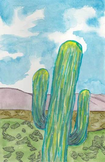 Saguaro, 5.5 x 8.5, watercolor on paper, © 2020 Sheila Delgado.
