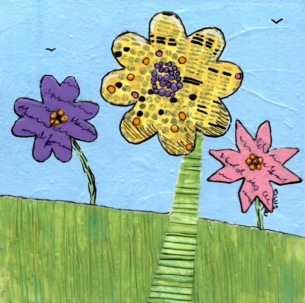 Trio #3 Mixed Media on 6 x 6 Cradled Board. © 2021 Sheila Delgado.
