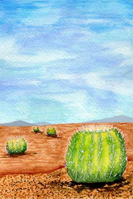 Ball Cactus, 4 x 6, mixed media on Arches 140 lb. cold-pressed paper. © 2021 Sheila Delgado.