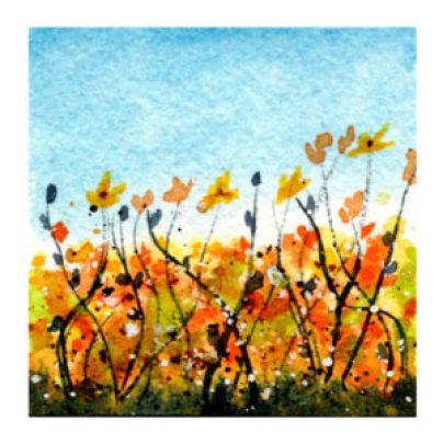 Day 4, WWM, Sunny Delights, 2 x 2 inch watercolor on Arches 140 lb. cold pressed paper. © 2021 Sheila Delgado.