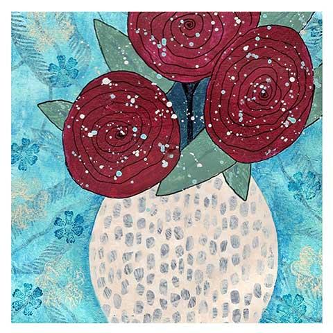 Ranunculus. Day 1, 8 x 8 on paper. © 2021 Sheila Delgado.